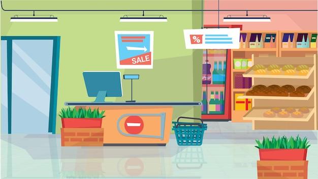 Conceito de interior de supermercado em caixa de projeto plana dos desenhos animados com prateleiras de cestas de compras de computador ...