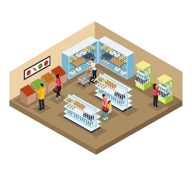 Conceito de interior de supermercado isométrico