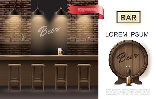 Conceito de interior de taverna realista com bancos de bar pendurados lâmpadas brilhantes, parede de tijolos, caneca de cerveja no balcão e barril de cerveja de madeira