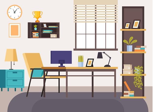 Conceito de interior do local de trabalho em casa