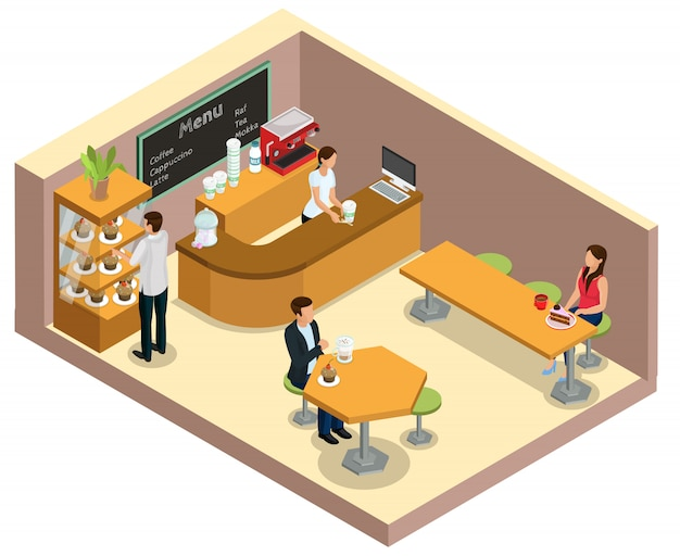 Conceito de interior isométrico de cafeteria com advogado no balcão de clientes, bebendo café e comendo sobremesas em mesas isoladas