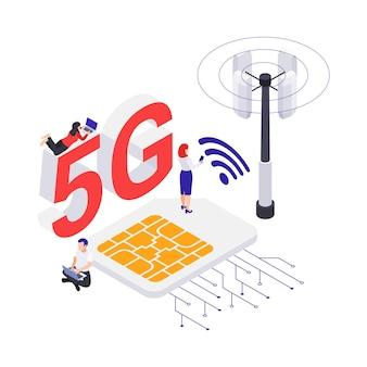 Conceito de internet 5g com antena de sinal wi-fi do cartão sim e personagens humanos ilustração em vetor 3d isométrico