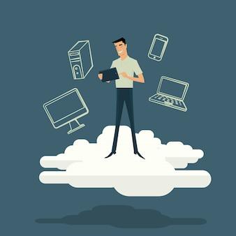 Conceito de internet computação em nuvem