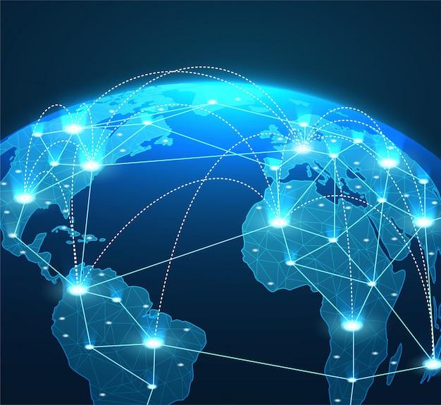 Conceito de internet de conexões de rede global