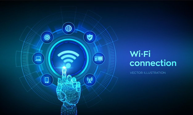 Conceito de internet de tecnologia de sinal de rede wifi grátis com interface digital de toque de mão robótica
