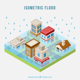 Conceito de inundação isométrica