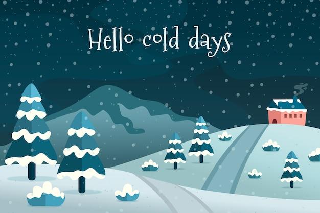 Conceito de inverno em design plano