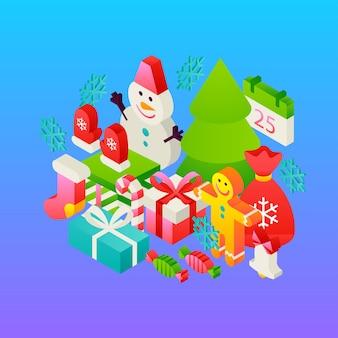 Conceito de inverno gradiente de feliz natal. ilustração em vetor de cartão de isometria de férias.