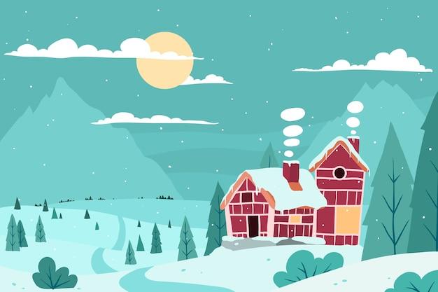 Conceito de inverno na mão desenhada