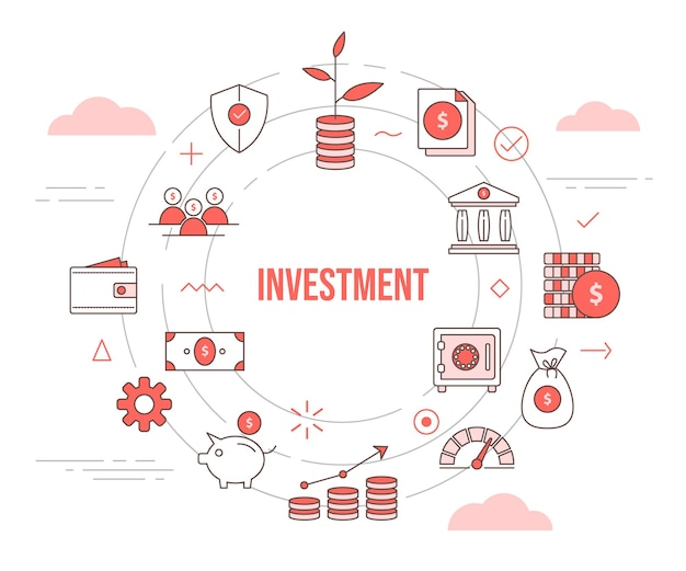 Conceito de investimento crescimento planta banco de investimento cofre dinheiro moeda carteira cofrinho com modelo de conjunto de ícones com forma redonda de círculo