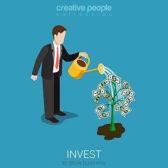 Conceito de investimento de estilo isométrico 3d plano
