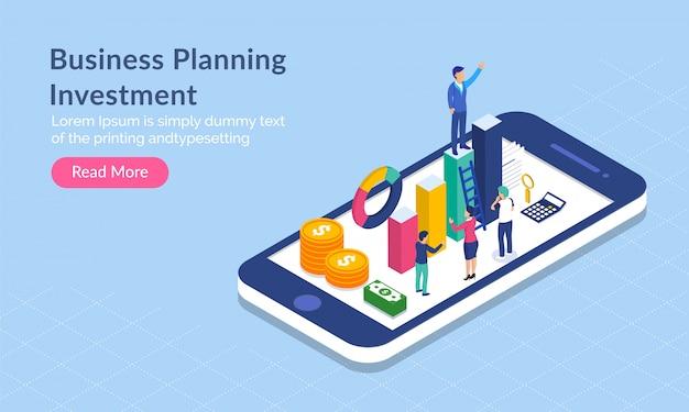 Conceito de investimento de planejamento de negócios.