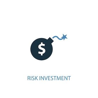 Conceito de investimento de risco 2 ícone colorido. ilustração do elemento azul simples. design de símbolo de conceito de investimento de risco. pode ser usado para ui / ux da web e móvel