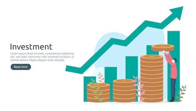 Conceito de investimento empresarial. moeda de pilha de dólar, pequenas pessoas, dinheiro. modelo de página de destino moderno