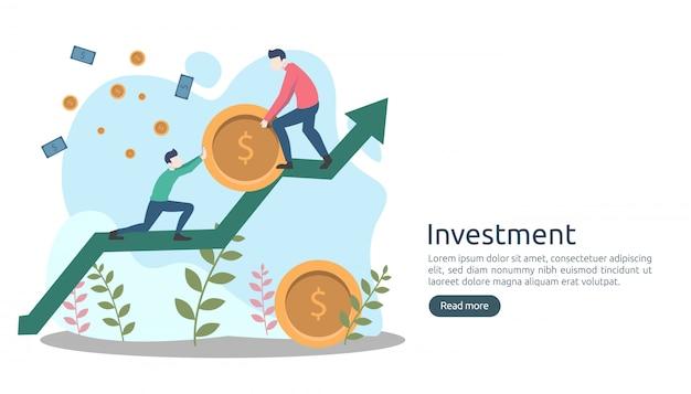 Conceito de investimento empresarial. moeda de pilha de dólar, pequenas pessoas, dinheiro.