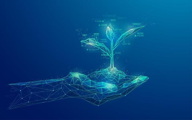 Conceito de investimento empresarial ou estratégia de mercado de ações, gráfico da mão de wireframe segurando uma planta jovem combinada com elemento de mercado de ações