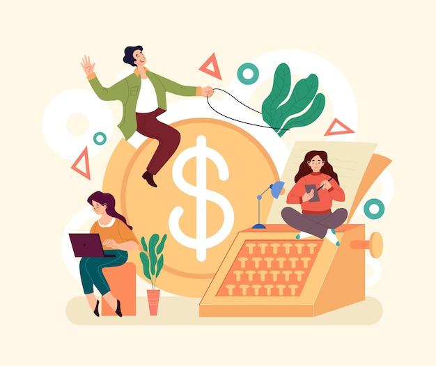 Conceito de investimento financeiro de renda de ganhos de gestão de economia. ilustração de design gráfico de estilo simples e moderno