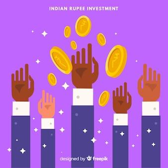 Conceito de investimento rupia indiana