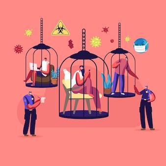 Conceito de isolamento em casa. personagens sentados em gaiolas supervisionados por policiais durante covid19 pandemic quarantine.
