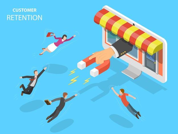 Conceito de isométrica plana de retenção de clientes de loja online.