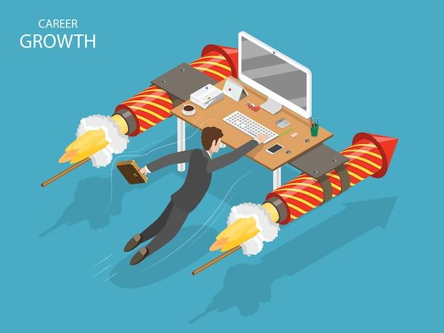 Conceito de isométrico plano de crescimento de carreira. um homem está voando rápido segurando em sua mesa de escritório com foguetes de fogos de artifício.