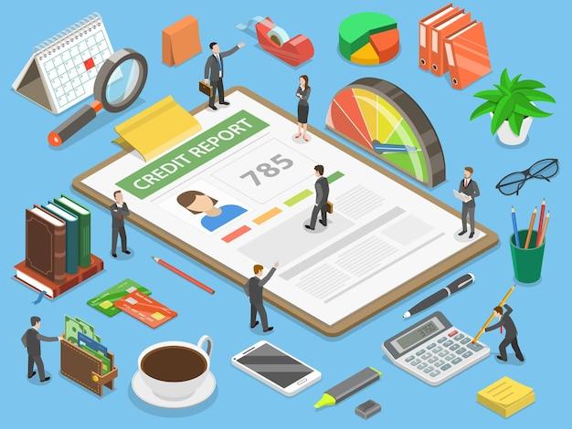 Conceito de isométrico plano de relatório de crédito