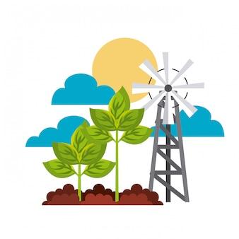 Conceito de jardinagem e moinho de vento