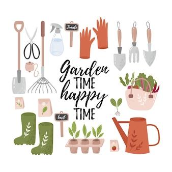 Conceito de jardinagem feliz. ferramentas de jardim. ilustração vetorial colorida