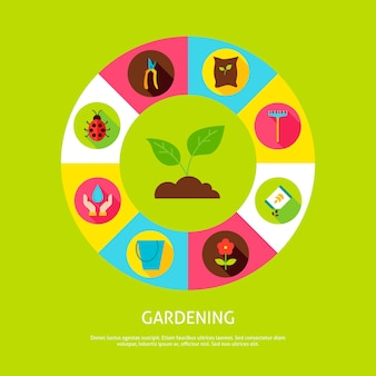 Conceito de jardinagem. ilustração em vetor de círculo de infográficos de natureza primavera com ícones.