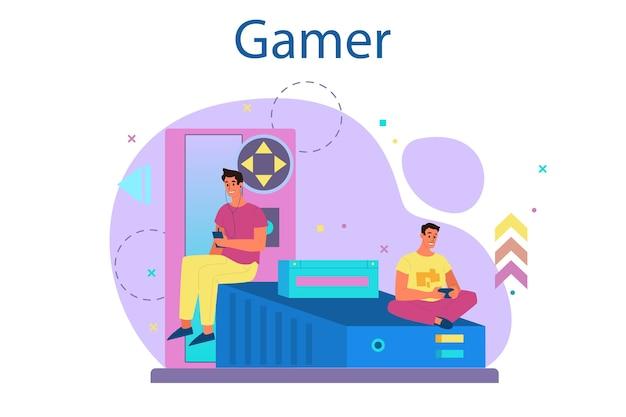 Conceito de jogador profissional. pessoa joga no videogame de computador. equipe de e-sports, jogos profissionais. campeonato virtual.