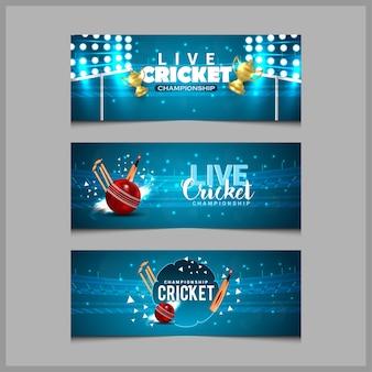 Conceito de jogo de críquete com banner do estádio
