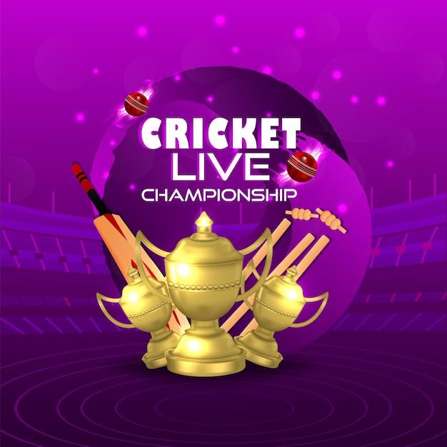 Conceito de jogo de críquete com estádio e fundo