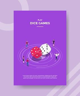 Conceito de jogo de dados para banner e flyer de modelo com vetor de estilo isométrico