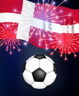 Conceito de jogo de futebol de fundo dinamarca com bandeira campeonato Vetor Premium