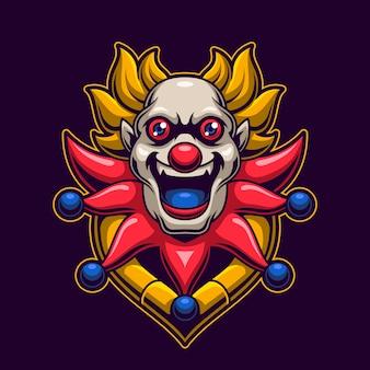 Conceito de jogo de logotipo de cabeça de palhaço