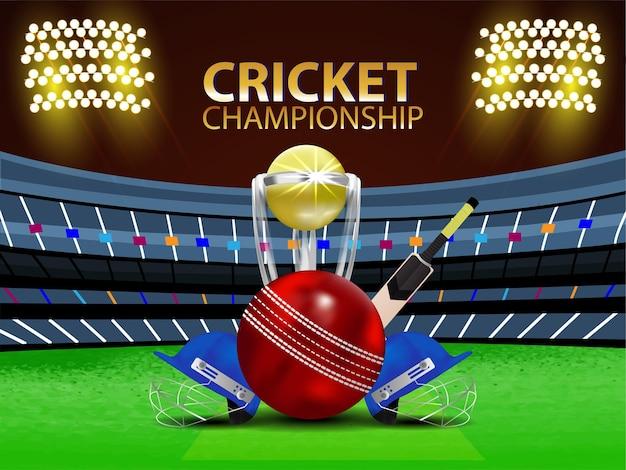 Conceito de jogo de torneio de críquete com estádio e equipamento de críquete