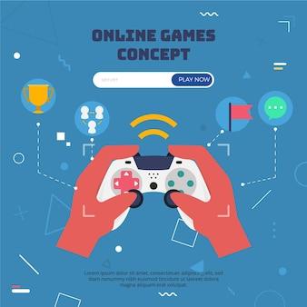 Conceito de jogos online com controlador