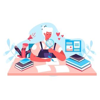 Conceito de jornalismo. editora procurando notícias, jornalista escreve novos artigos e textos. o escritor criativo trabalha na cena do personagem de escritório. ilustração vetorial em design plano com atividades pessoais