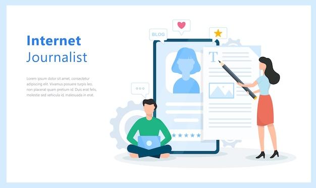 Conceito de jornalista de internet. ideia de blog e escrita de conteúdo