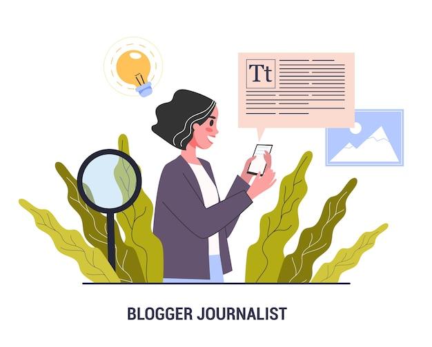 Conceito de jornalista do blogger. profissão na mídia de massa. mulher compartilha conteúdo na internet. idéia de mídia social, comunicação e popularidade. ilustração