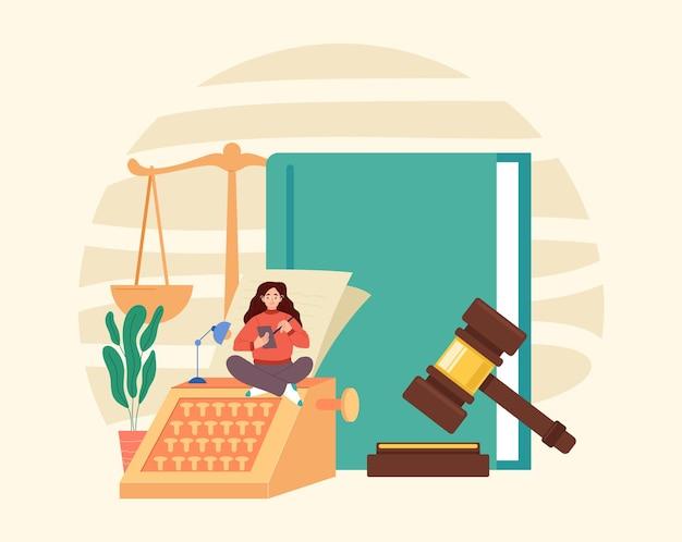 Conceito de justiça do julgamento da autoridade do governo do martelo da escala do livro da lei.