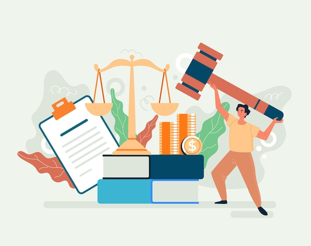 Conceito de justiça governamental de autoridade de direito tributário. ilustração plana dos desenhos animados
