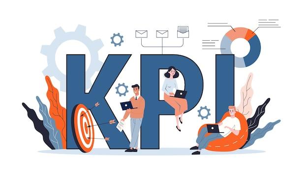 Conceito de kpi ou indicador-chave de desempenho. ideia de revisão e avaliação de dados. ilustração