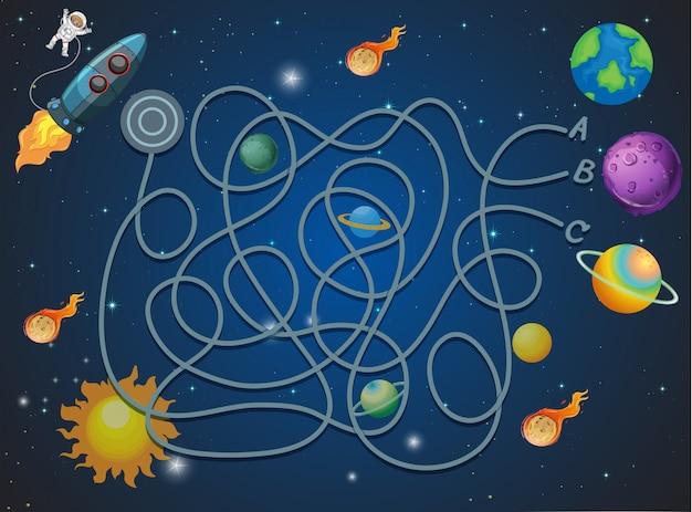 Conceito de labirinto com tema espacial