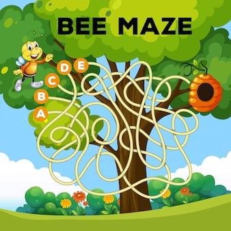 Conceito de labirinto de abelha divertido