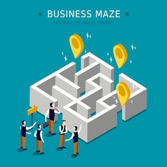 Conceito de labirinto de negócios 3d design plano isométrico