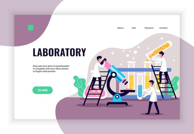 Conceito de laboratório com página de destino do microscópio