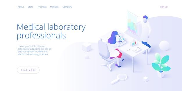 Conceito de laboratório de pesquisa médica em isométrico