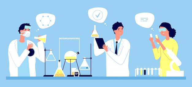Conceito de laboratório. ilustração de testes farmacêuticos de cientistas. medicina, farmácia, pesquisa médica