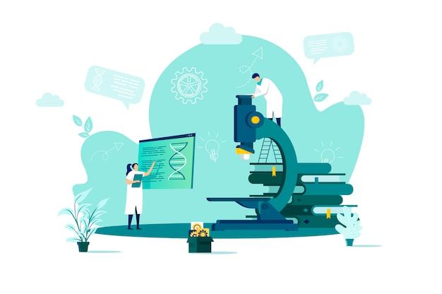Conceito de laboratório médico em grande estilo com personagens de pessoas em situação